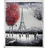 La Torre Eiffel, París - Pintura al óleo pintada a mano sobre lienzo - Excelente calidad y la artesanía