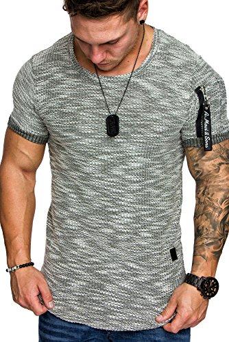 Amaci&Sons Oversize Vintage Herren Cargo-Style Shirt Sweatshirt Crew-Neck 6025 Khaki M