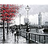 Vista de Londres Big Ben desde la orilla sur por el río Támesis - Pintura al óleo pintada a mano sobre lienzo - Excelente calidad y la artesanía