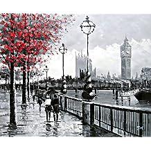 Londres escena de la calle Vista de Big Ben del Banco del Sur y el río Támesis. Pintura al óleo pintada a mano sobre lienzo - Excelente calidad y la artesanía