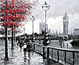 London street scene View Of Big Ben From The South Bank and The River Thames. Fine Art oil on canvas painting - Superb quality and craftsmanship, hand made wall art by brand trademark: Rflkt