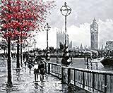 London Straßenszene Blick auf Big Ben von der South Bank und der Themse. Kunst Öl auf Leinwand Gemälde - Hervorragende Qualität und Handwerkskunst, handgefertigte Wandkunst