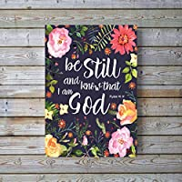 Be Still and Know That I am God Picture, Psalm 46 10, Bible Quotes Wall Art Christian Posters, A4 UNFRAMED