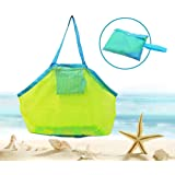 Bornfeel Bolsa de Juguetes Playa Bolsa de Malla para Niños Guardar los Juguetes Bolas Conchas Verde 45 x 30 x 45cm (18 x 12 x