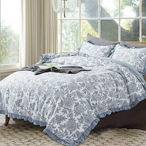 GOONE Bettwäsche-Set mit 1 dünnen Schmusetuch und 2 Schonbezügen, atmungsaktiv, weich, leicht, gesunde Daunen, Alternative Füllung mit bedrucktem Muster Twin Floral Blue -