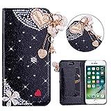 Brillantini Custodia per iPhone 6 Plus/6S Plus 5.5' Glitter Flip Cover con Slot per Schede Wallet Shell Nero Glitter Brillanti 3D Ciondolo d'Amore Strass Cover Magnetico Cover