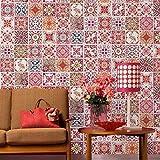Walplus Wandaufkleber ablösbar selbstklebend Wandkunst Aufkleber Vinyl Wohndeko DIY Wohnzimmer Schlafzimmer Küche Dekor Tapete Geschenk Marokkanische rosarot Mosaik Kachel - 20 cm x 20 - 12 Stück