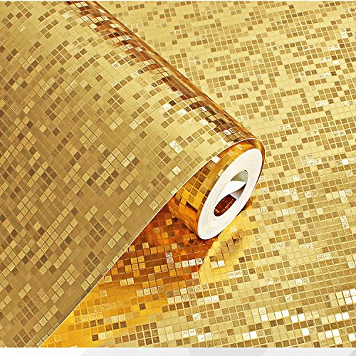YC Sfondi 3D oro argento impermeabile Plaid mosaico bagno cucina pilastro KTV contatore , golden yellow