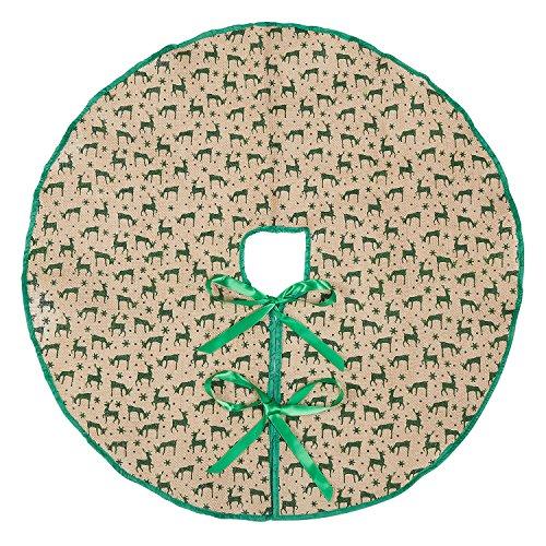 Base Marry Acting para árbol de Navidad, de arpillera, verde, con adornos de ciervos, alfombrilla para árbol de Navidad, decoración para el hogar o para fiesta