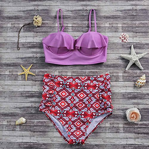 2017 Maillot de Bain, Xinan Femmes Swimwear Bikini Set Sexy Push-up Padded Bra Beachwear Violet