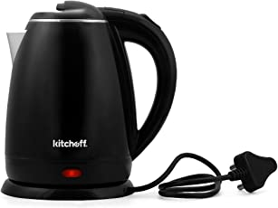 Kitchoff Stainless Steel Double Body Black Coated Automatic Electric Kettle for Home, 1.7L (Black)