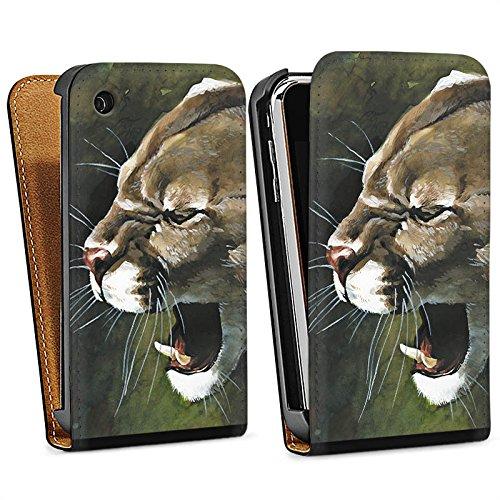 Apple iPhone 4 Housse Étui Silicone Coque Protection Puma Chat Dessin Sac Downflip noir