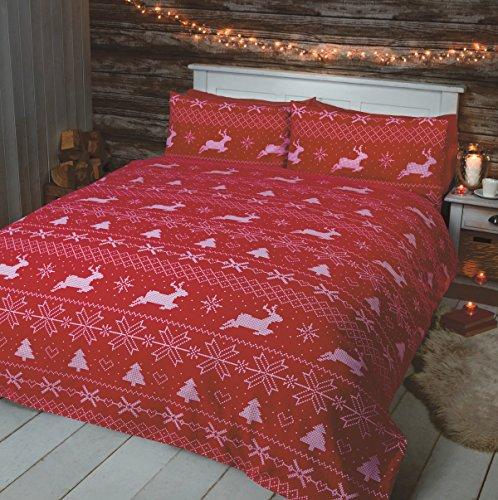 Christmas reindeer set copripiumino matrimonialee double-face natalizio snowflake xmas e 2;federe, set di biancheria da letto, colore: grigio, cotone, red, red, king