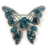 Brosche mit Swarovski-Kristallen, Schmetterling, Farbe: Petrol und Silber