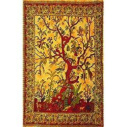 Copriletto/copridivano/arazzo/tovaglia, con albero della vita, tessuto di colore rosso e arancione, stile boho, hippie, etnico, coperta da picnic