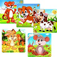Wooden Jigsaw Puzzles Set - 5 Pack Animals Puzzles for Kids Ages 3-5 Year Old 20 Pieces Toddlers Educational L