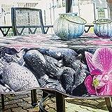 Kamaca Wetterfeste Outdoor Tischdecke ABWASCHBAR WETTERFEST SCHMUTZABWEISEND (160 cm rund, Flower)