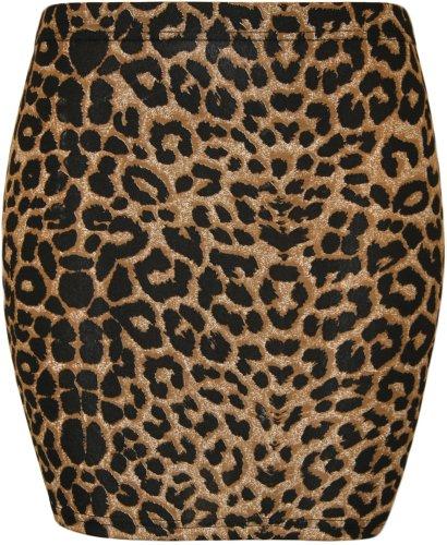 Da donna stampa stretch Bodycon elasticizzato jersey breve mini gonna–8–14 Marrón Leopardo