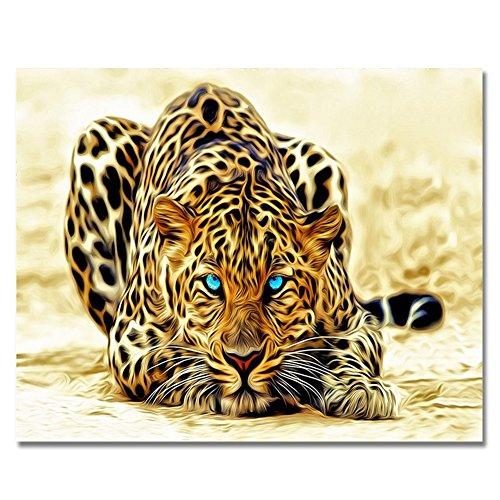 ach Zahlen DIY Ölgemälde Bunte Löwe Leinwanddruck Wandbild Art Home Dekoration by rihe, leopard, without frame (Leopard Dekorationen)