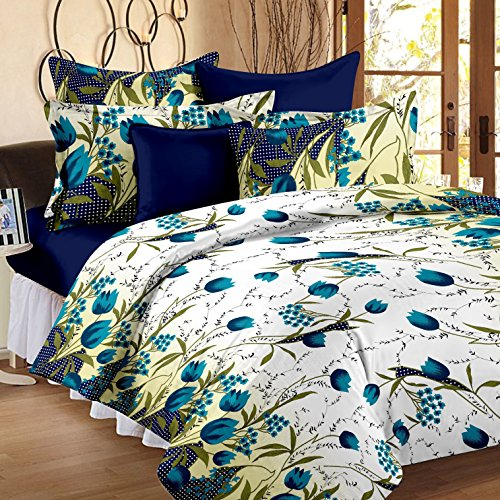 Story@Home 100% Cotton Floral Print Trendy Premium Double Bedsheets with 2 Pillow Covers, Blue