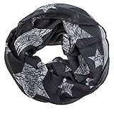 Soul-cats® Ein Kinder Loopschal Tuch große Sterne grau marine weiß, Farbe:dunkelgrau
