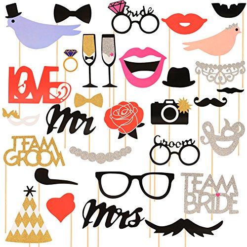 Lanlan 31pcs Creative Photo Booth Props DIY Kit für Hochzeit, Geburtstag, Familie, Urlaub und andere Festivals und Partys