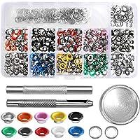 Bestgle 300 Piezas Kit de Ojales de Multicolor Ojetes de Ojetes Metálicos Diámetro Interior 6 mm con Herramientas Grommet,con Caja de Almacenamiento Kit(diez colores)