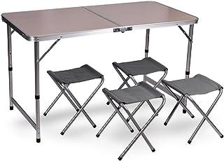 WUBOX Campingtisch Klapptisch Set - Gartentisch klappbar und 4 Campingstühle Faltbar - Koffertisch mit 4 Sitzhockern für Camping, Outdoor und Garten