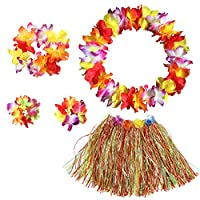 BigLion Hawaiian Hula Grass Skirt with Flower Leis Costume Set Elastic Grass and Flower Bracelets Headband Necklace for Luau Beach Party Dance Favors Women