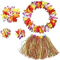 BigLion Guirnalda Hawaiana Falda de Hierba con Flores Hula Lei Kit Falda de Hierba Elásticas y Flores Pulseras Diadema Collar para Luau Verano Playa Hawai Costumes Accesorios Fiesta
