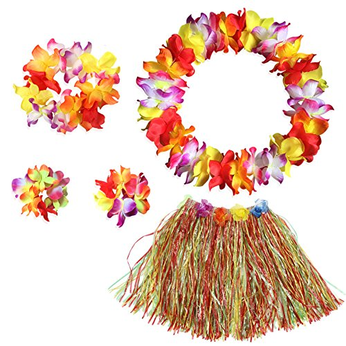 BigLion Hawaiian Hula Grass Rock mit Blumen Leis Accessoires Elastische Grass und Blumen Armbänder, Stirnband Blumenketten für Luau Strand Party Fancy Dress Damen