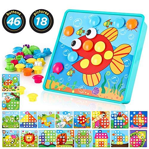 TINOTEEN LUKAT Mosaik Steckspiel für Kinder Lernspielzeug Steckmosaik mit 46 Steckperlen und 18 Bunten Steckplätte