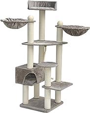 nanook Kratzbaum XXL Katzenkratzbaum Esmeralda - mit Teppich Kratzstämmen - große Liegemulden - großer Liegeplatz - XL Höhle - für große Katzen - 194 cm - grau -stabil
