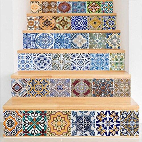 PLYY Treppe Aufkleber wasserdicht PVC Material DIY Self-Adhesive Aufkleber für Bad Home Decor 18 * 100 cm * 6 STK, Fliesen Bild -