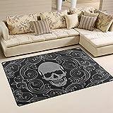 COOSUN Totenkopf Muster Bereich Teppich Teppich rutschfeste Fußmatte Fußmatten für Wohnzimmer Schlafzimmer 152,4x 99,1cm, Textil, multi, 60 x 39 inch