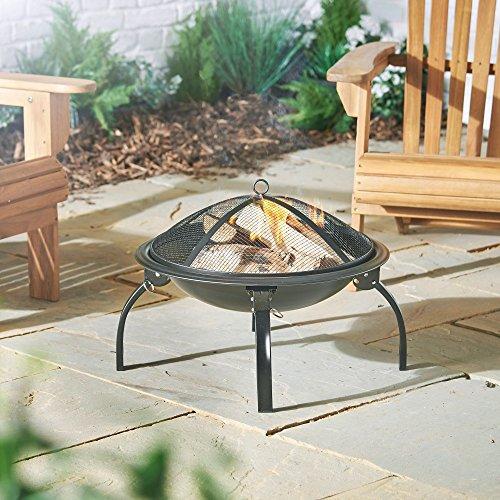 Vonhaus Fire Pit Garden Bbq Bowl Outdoor Camping Log Anthrazit Terrassenstrahler Faltbar Tragetasche Gratis 2 Jahre Warranty