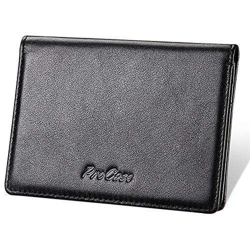 Echtes Leder Visitenkartenetui, ProCase Professional Name Kartenhalter Ultra Slim Wallet Case Kreditkartenetui Folio für Männer und Frauen -Schwarz