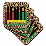 3dRose cst_26966_1 Candles of Kwanzaa Soft Coasters, Set of 4 by 3D Rose