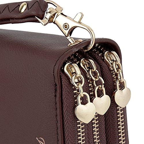 UTO Donna Portafoglio Triple Zipper Pelle Sintetica Titolare Della Carta Ragazze con Cinturino dell'orologio 1 Caffè