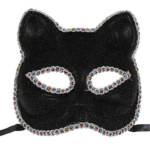 ,Venedig Maske Weihnachten Halloween Maske Katze Gesicht gemalt Maske schwarz Masquerade ()