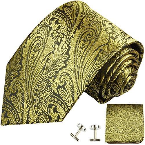 Cravate homme or noir ensemble de cravate 3 Pièces ( longueur 165cm )