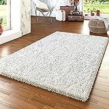 TT Home Shaggy Teppich Modern Hochflor Uni Wohnzimmer Kuschelig Weiß, Größe:10x10 cm