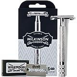 Wilkinson Sword Classic Premium - Máquina de Afeitar Vintage de Acero Cromado para Hombre + 5 Hojas de Afeitar de Doble Filo,