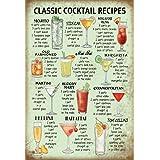 Schatzmix Metalen bord Cocktail klassiek recept groen metalen bord wanddecoratie 20x30 tin sign