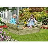 Sandkasten mit Deckel und Sitzbank 120x120 cm aus Holz von Gartenpirat®