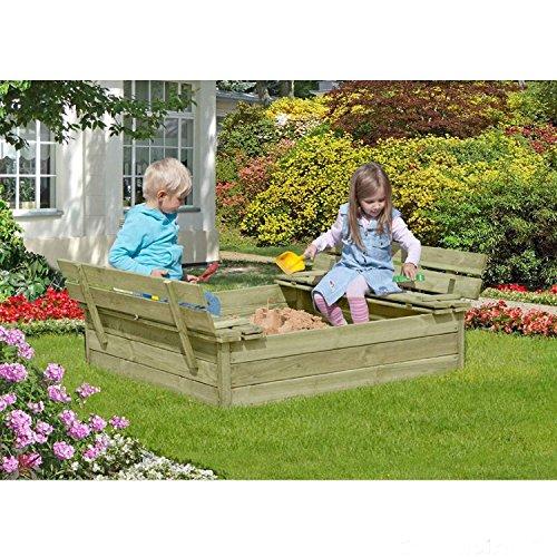 Preisvergleich Produktbild Sandkasten mit Deckel und Sitzbank 120x120 cm aus Holz von Gartenpirat®