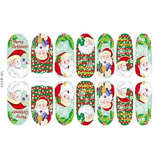 Bluelover 3D Christmas Tree Santa Claus Luminous Nail Full Aufkleber-Yb-Q157