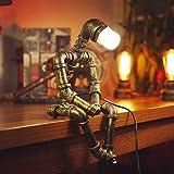 PIPRE Lampe Robot Rétro Lampe de bureau industrielle Fer Tuyau de Lampe de chevet Chambre étude créatifs Lampe nostalgie robo