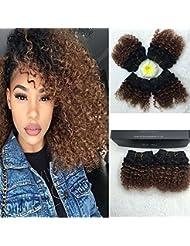 Full Shine 20 cm 4 Paquets 7A Cheveux à Trame Frisés(Kinky Curl) Cheveux Brésiliens Remy Hair Tissage Cheveux Ombré Hair Marron 25g/Paquet