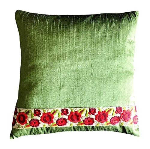 Silk Handmade Cushion Cover - 16 x 16 Inches, Green